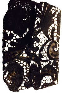 New York & Company Lace Evening Black And Creme Clutch