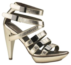Cole Haan Maria Sharapova Leather Metallic Pumps Buckle Detail gold Platforms