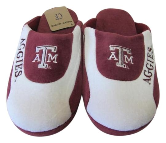 Comfort Feet New Excellent Condition Size Medium Texas A & M Slippers white, maroon Mules