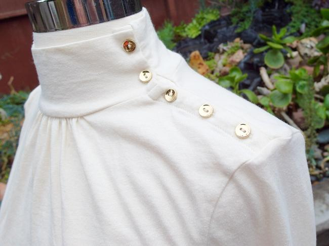 Lilly Pulitzer Gold Mock Turtleneck 3/4 Sleeves Top Ivory