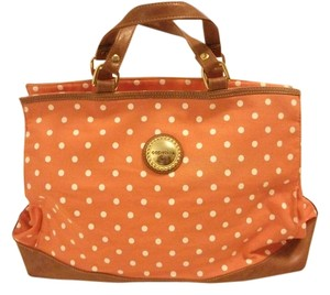 Capezio Polkadot Orange Designer Summer Tote in orange/white polka-dots