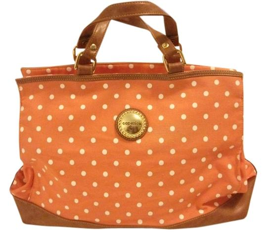 Preload https://item2.tradesy.com/images/capezio-summer-toteshoulder-orangewhite-polka-dots-canvaspolyvinyl-tote-3092791-0-0.jpg?width=440&height=440