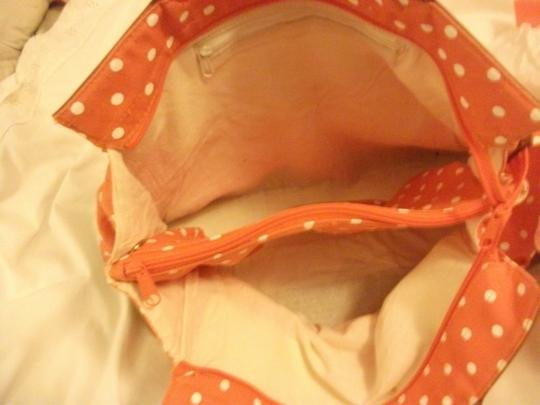Capezio Purse Designer Summer Purse Tote in orange/white polka-dots