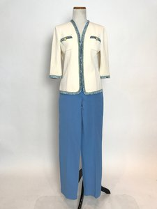 St. John St. John Blue and White Knit Jacket, Tank, and Pant Set
