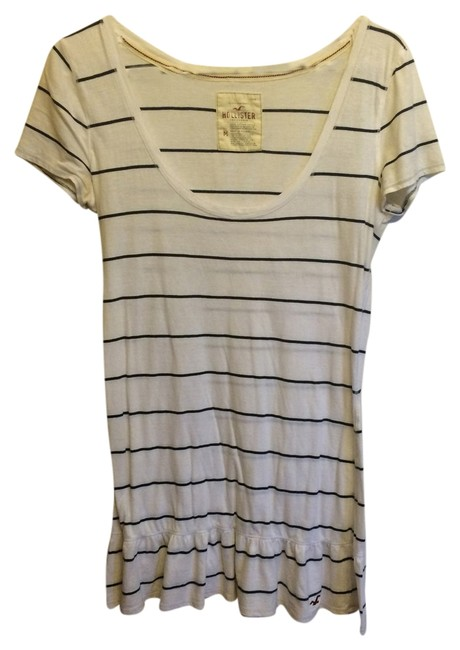 Hollister T Shirt white with navy stripes