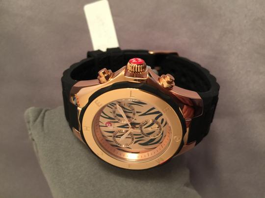 Michele Nwt authentic michele LARGE Tahitian jelly bean tiger rose gold black watch $395
