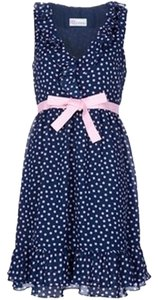 RED Valentino short dress Blue and Pink Polka Dot Polka Dot Valentino Red Ruffle Ruffled Ribbon Ruffled Hem Sun on Tradesy