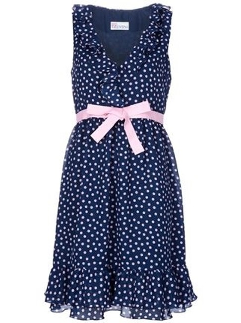 RED Valentino short dress Blue and Pink Polka Dot Polka Dot Ruffle Ruffled Ribbon Ruffled Hem Sun on Tradesy