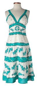 Blue, White & Silver Maxi Dress by BCBGMAXAZRIA Bohemian Sequin Beaded Embroidered