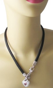 Judith Ripka Judith Ripka 925 Silver Pink Topaz & Diamond Heart Necklace Black Woven Leather