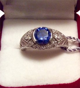 Gabriolli Sterling Silver Engagement Ring with Blue stone