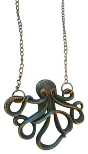 Bronze octopus charm necklace