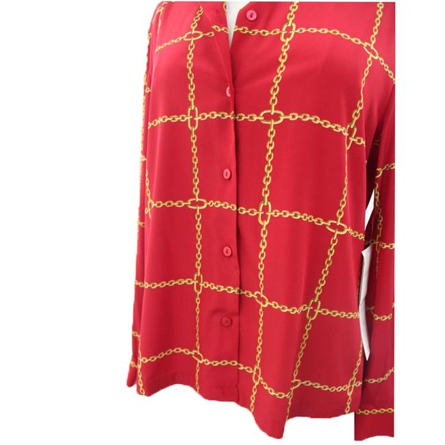 NWT Josephine Chaus NWT Josephine Chaus Woman Designer Red Chain Printed Buttoned Down Shirt Size 14