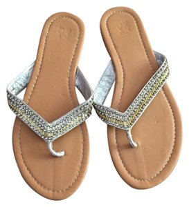 New York & Company And Flip Flops Size 8 Gold, Silver Sandals