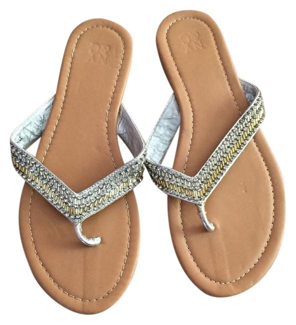 Item - Gold Silver Flip Flops with Beads Sandals Size US 8 Regular (M, B)