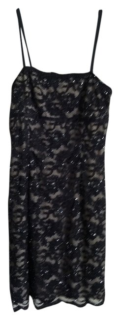 Item - Black Lace Beading Above Knee Cocktail Dress Size 6 (S)