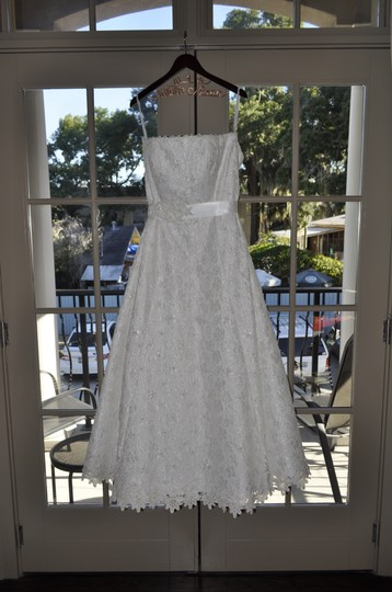 David's Bridal All Over Beaded Corded Lace A-line Gown: 9ct2406 Wedding Dress