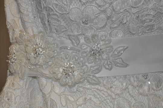 David's Bridal Ivory Polyester with and Lace All Over Beaded Corded A-line Gown: 9ct2406 Wedding Dress Size 20 (Plus 1x)