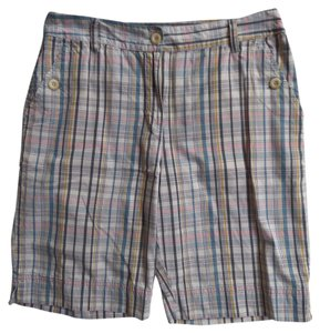 Van Heusen Bermuda Bermuda Shorts Blue, Pink & White Plaid