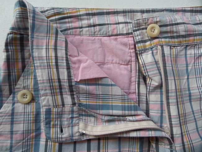 Van Heusen Bermuda Shorts Blue, Pink & White Plaid