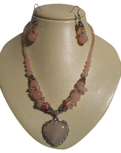 rose quarts necklace & earrings set