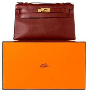 Herms Hermes Kelly Pochette Burgundy Clutch