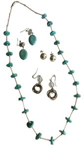 Summer jewelry set of earrings and silver/turquoise necklace