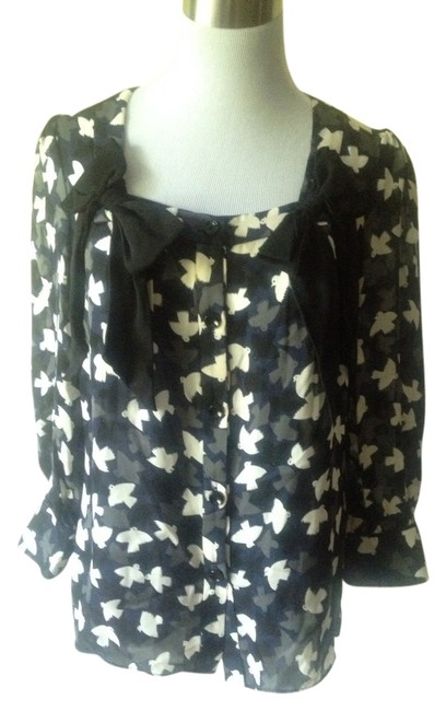 MILLY Top Blue/Black/White