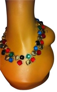 Vintage Multi Color Resin Metal Pendant Bib Collar Necklace