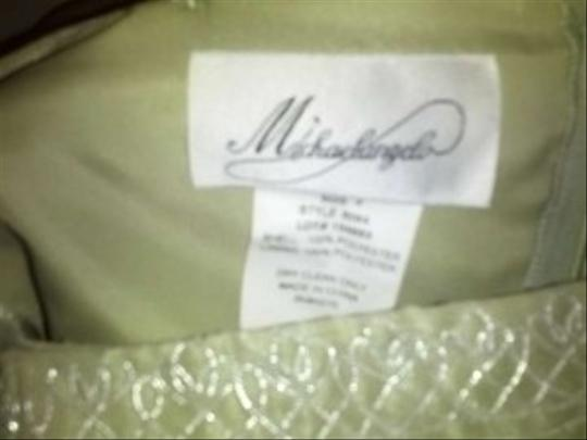 David's Bridal Celadon Green W Silver Embroidery Maid Of Honor Gown W Shawl Dress