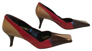 Prada Multi color all leather square toe Italian E39 Pumps