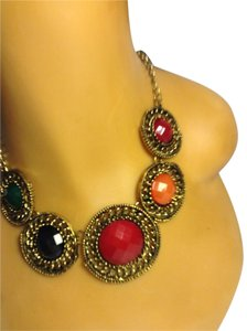 Vintage Style Antigue Gold Tone Multi-Color Stone Necklace