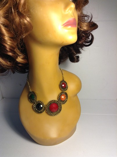Other Vintage Style Antigue Gold Tone Multi-Color Stone Necklace