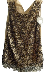 Lela Rose Nwt Lace Top Black/Taupe