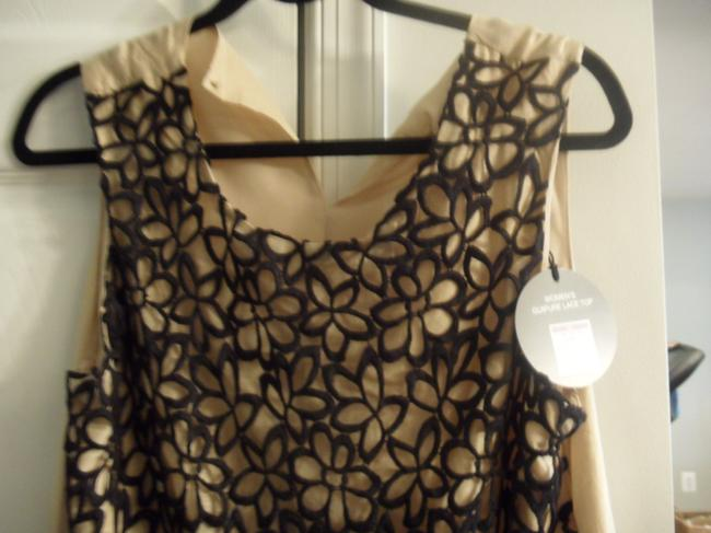 Lela Rose Lace Top Black/Taupe