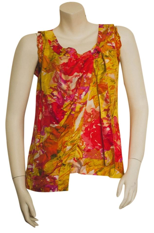 f2b95a1ec84240 J.Crew Orange Yellow Red Pink Cream Silk Sleeveless Abstract Hibiscus  Floral Print Crewneck Wrap with Tie Neck Blouse. Size: 4 ...