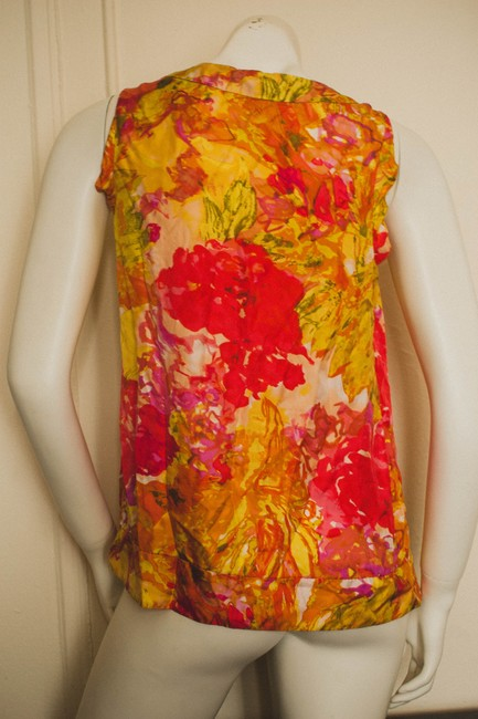 J.Crew Silk Floral Flowers Flowered Hippy Hippie Hipster Professional Business Business Casual Hawaii Hawaiian Abstract Batik Top orange, yellow, red, pink, cream