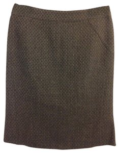 Armani Collezioni Business Professional Pencil Textured Wool Timeless Classic Fitted Skirt Charcoal