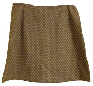 Express Skirt Periwinkle blue with brown and white pattern