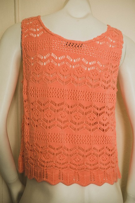 Cotton Emporium Nordstrom Salmon Coral Hippy Hippie Bohemian Boho Knit Knitted Crochet Sheer Keyhole Keyhole Knit Shirt Oversized Top salmon/coral/pink