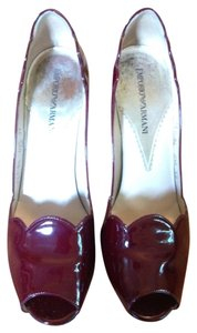 Emporio Armani Peep Toe Patent Leather Burgundy High Heel Scalloped Oxblood Pumps