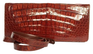 George Cuk Vintage Crocodile Alligator Brown Cognac Clutch