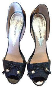 Emporio Armani Patent Leather D'orsay Black Sandals