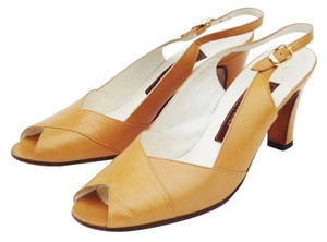 Bally Peeptoe Slingback Slingbacks Leather Caramel Pumps