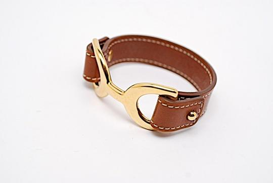 Hermès Authentic HERMES Brown Leather & Gold Plated Bracelet Gold Horse Bitt Design