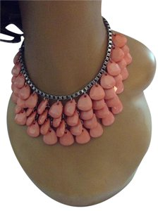 Silver Tone Peach Acrylic Drop Bead Necklace 052415