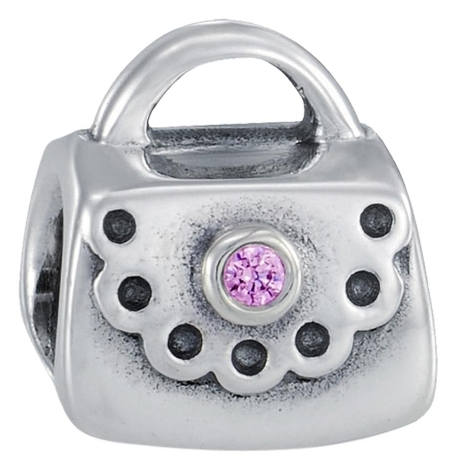 bafcf632f PANDORA Silver with Pink Stone Purse Cz Sterling **retired** Charm ...