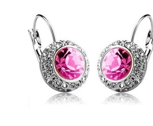 Pink Crystal Austrian Rhinestone Crystal Dangle Crystal Bridesmaid Earrings