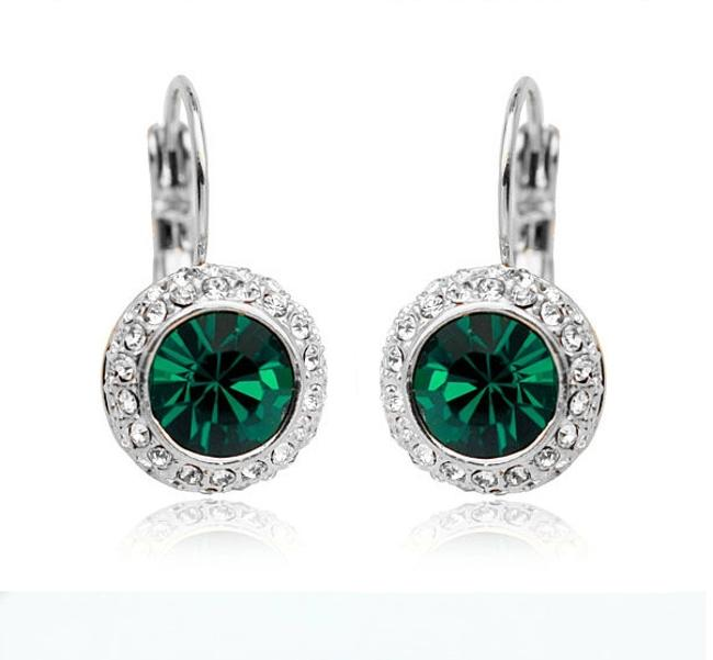 Item - Green Emerald Rhinestone Dangle Earrings