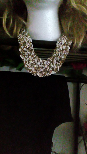 ZAD ZAD Mixed Metal Beaded Bronze and White Bib Necklace